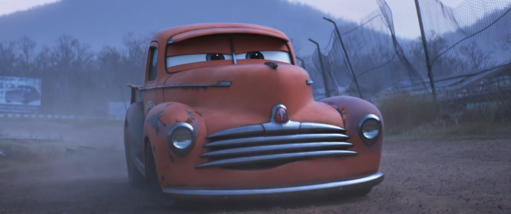 Cars 3: Smokey giving advice to Lightning McQueen